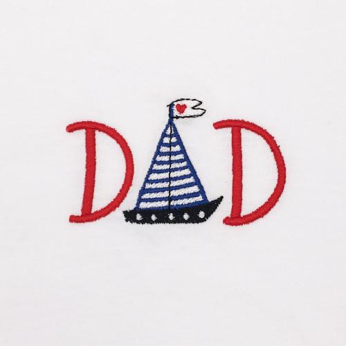 "BRODERIE T-SHIRT ""DAD"" BLANC"