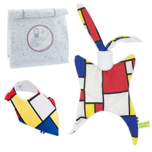 Coffret de naissance doudou et bavoir Mondrian