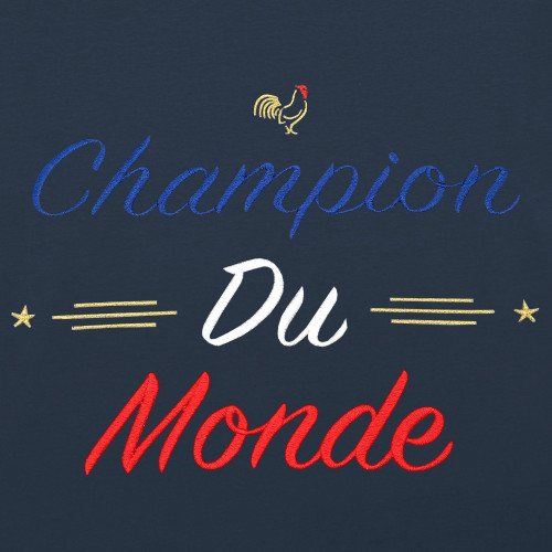 Embroidery Navy Champion Du Monde Man's T-shirt