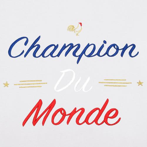"""BRODERIE T-SHIRT HOMME """"CHAMPION DU MONDE"""" BLANC"""