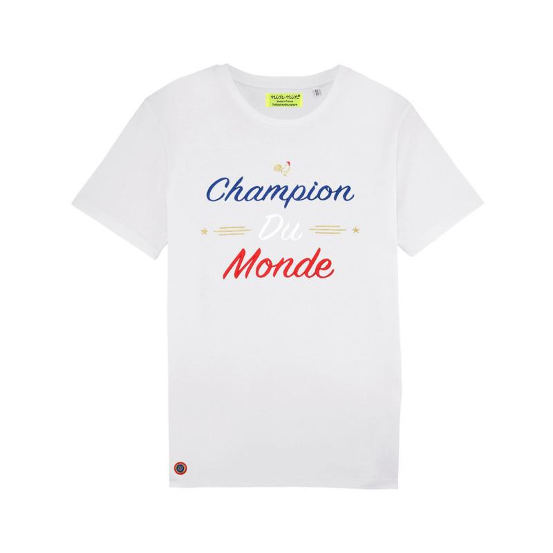 """T-SHIRT HOMME """"CHAMPION DU MONDE"""" BLANC"""