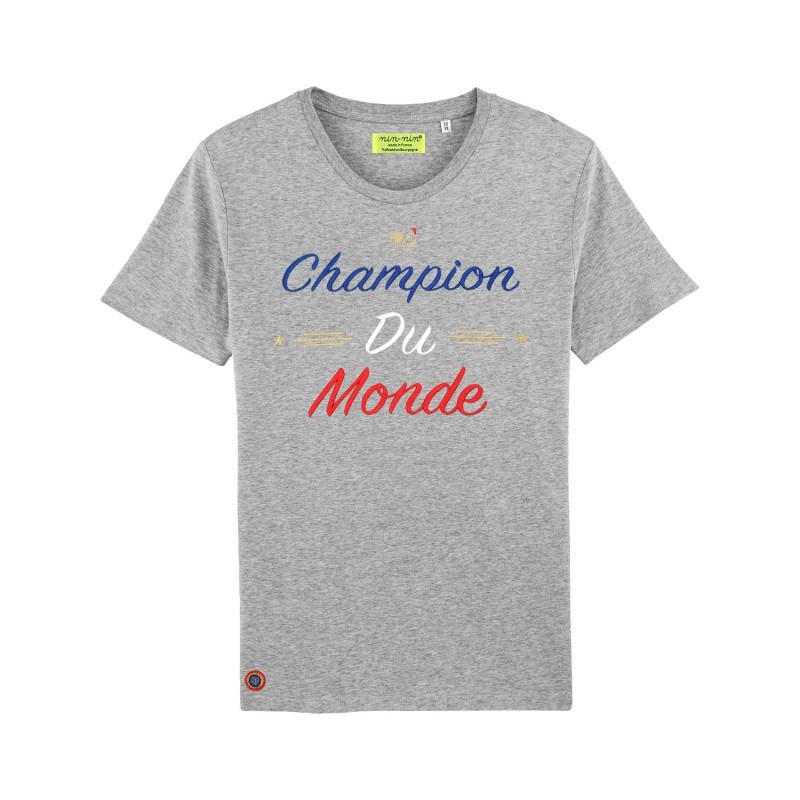 """T-SHIRT HOMME """"CHAMPION DU MONDE"""" GRIS"""