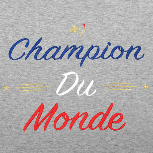 Embroidery Grey Champion Du Monde Man's T-Shirt