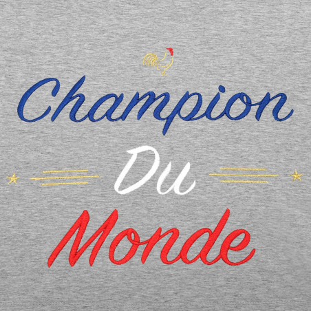 """BRODERIE T-SHIRT HOMME """"CHAMPION DU MONDE"""" GRIS"""