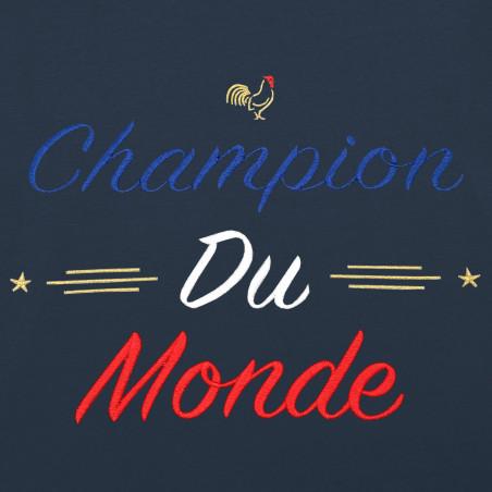"""BRODERIE SWEAT HOMME """"CHAMPION DU MONDE"""" NAVY"""