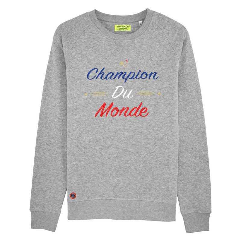 "SWEAT HOMME ""CHAMPION DU MONDE"" GRIS"