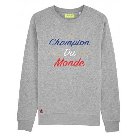 """SWEAT HOMME """"CHAMPION DU MONDE"""" GRIS"""