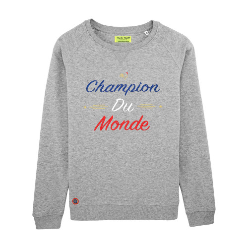 SWEAT FEMME CHAMPION DU MONDE GRIS CHINE
