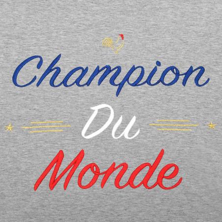 BRODERIE SWEAT FEMME CHAMPION DU MONDE GRIS CHINE