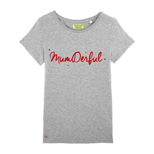 T-Shirt gris pour femme brodé MUMDERFUL. Fabrication Française