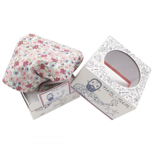 Cube doudou Le Liberty Parme. Cadeau de naissance original et made in France