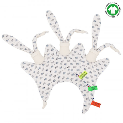 Etiquettes doudou Bio Le Fish & Chips. Cadeau de naissance original et made in France