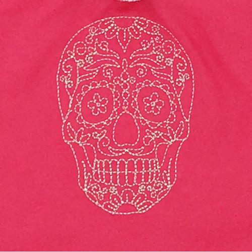 Broderie doudou rose calavéra mexicain pour adulte tête de mort. Cadeau original et made in France