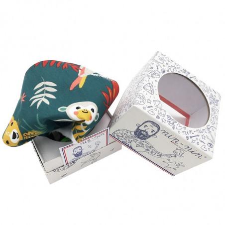 Cube doudou Le Tropical. Cadeau de naissance original et made in France
