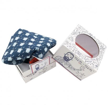 Cube doudou Le Ninja. Cadeau de naissance original et made in France