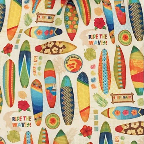 Tissu doudou Le Hossegor surfeur. Cadeau de naissance original et made in France