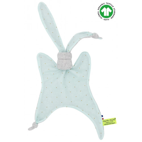 Doudou Bio Le Mint. Cadeau de naissance GOTS, original et made in France