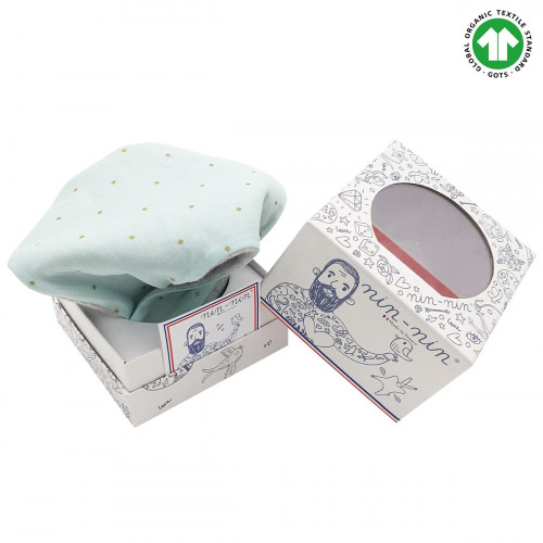 Cube doudou Bio Le Mint. Cadeau de naissance GOTS, original et made in France