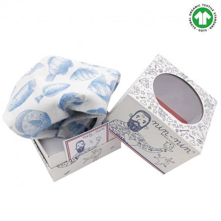 Cube doudou Bio Le Poiscaille. Cadeau de naissance GOTS, original et made in France