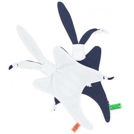 Vue de dos doudou pour adulte Le Pingouin Navy. Cadeau original et made in France