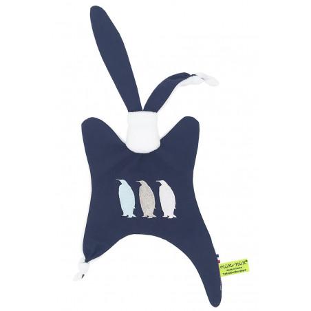 Doudou pour adulte Le Pingouin Navy. Cadeau original et made in France