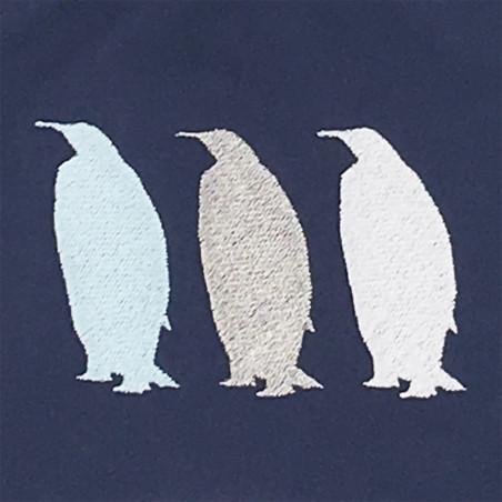 Broderie doudou pour adulte Le Pingouin Navy. Cadeau original et made in France
