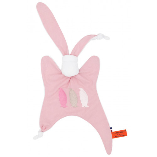Doudou pour adulte Le Pingouin Rose. Cadeau original et made in France