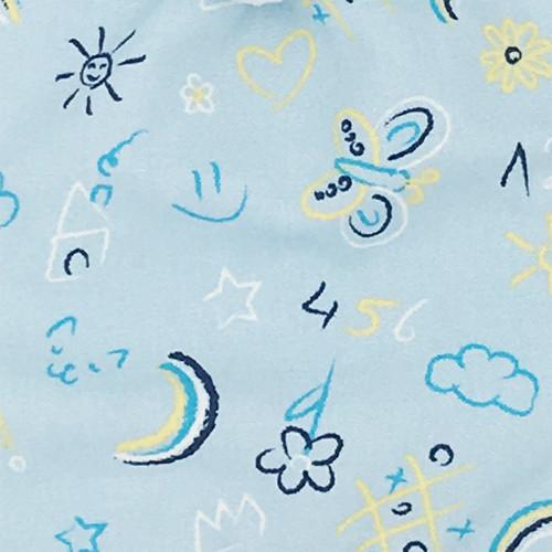 Tissu doudou personnalisable Le Phospho Bleu. Cadeau de naissance original et made in France