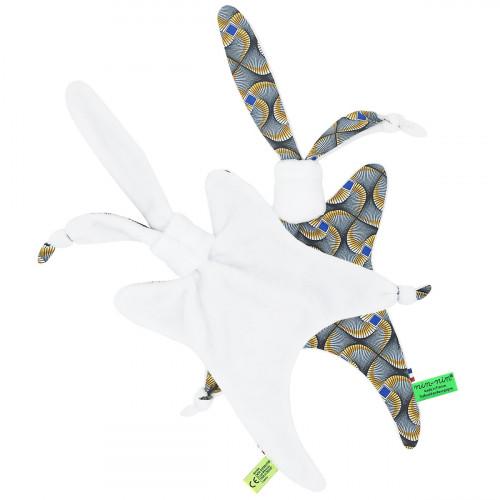 Vue de dos doudou Wax personnalisable. Cadeau de naissance original et made in France
