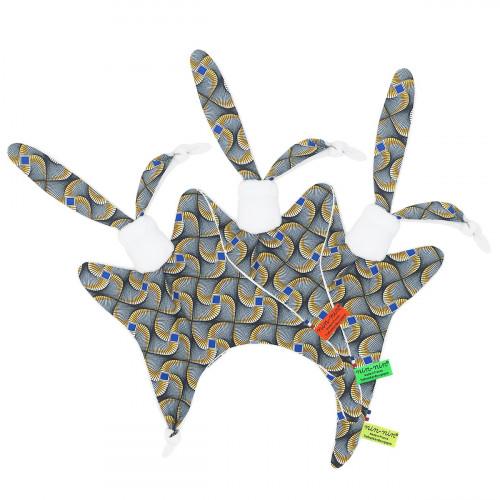 Etiquettes doudou Wax personnalisable. Cadeau de naissance original et made in France
