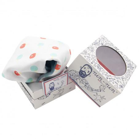 Cube doudou personnalisable Le Ping-Pong. Cadeau de naissance original et made in France
