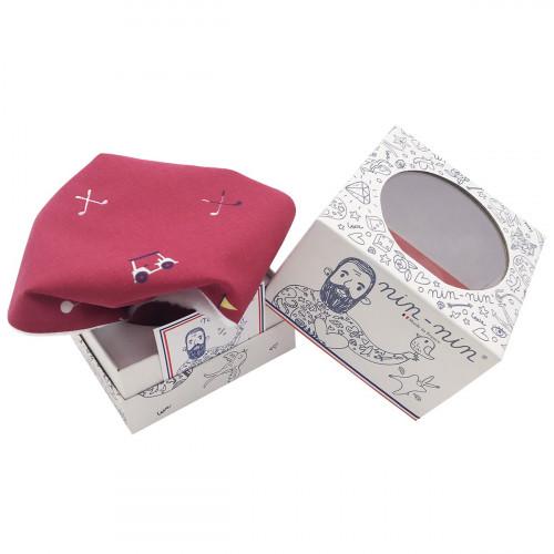 Cube doudou personnalisable Le Golfeur. Cadeau de naissance original et made in France