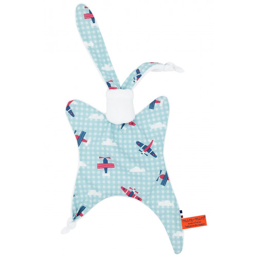 Red Bull Air Race baby comforter. Original soft toy made in France.