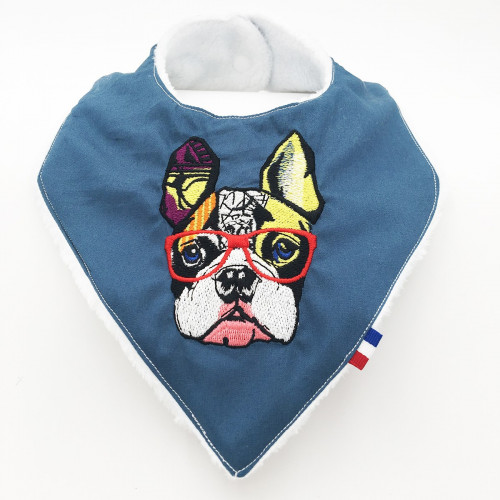 Vue de face bavoir bandana personnalisable Le French Bulldog. Made in France