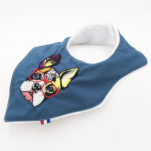 Bavoir bandana personnalisable Le French Bulldog. Made in France