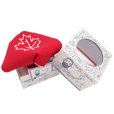 Cube doudou Le Canadien. Cadeau de naissance original personnalisable et made in France.