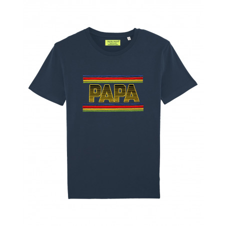 T-shirt brodé PAPA pour homme. Couleur Navy. Made in France.