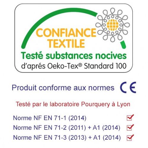 Bavoir bandana personnalisable l'intello. Oecko-Tex et fabriqué en France.