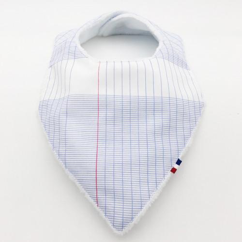Vue de face bavoir bandana personnalisable l'intello. Fabrication Française