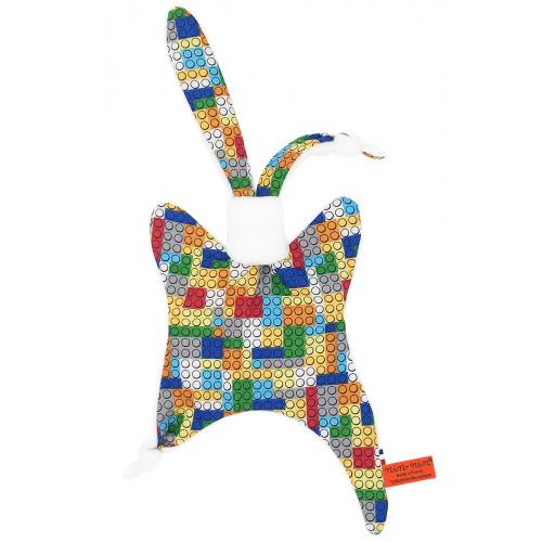 Doudou légo. Cadeau de naissance original personnalisable et made in France.