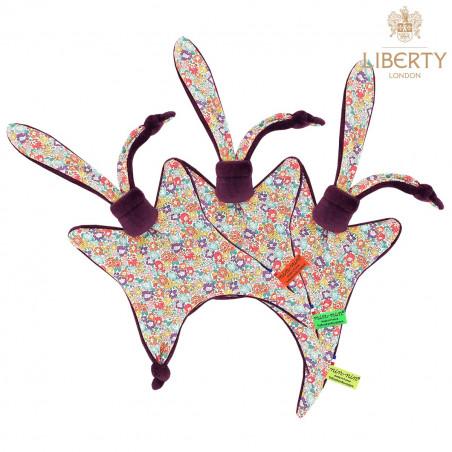 Doudou étiquettes Le Victoria Liberty of London. Cadeau de naissance original personnalisable et made in France.