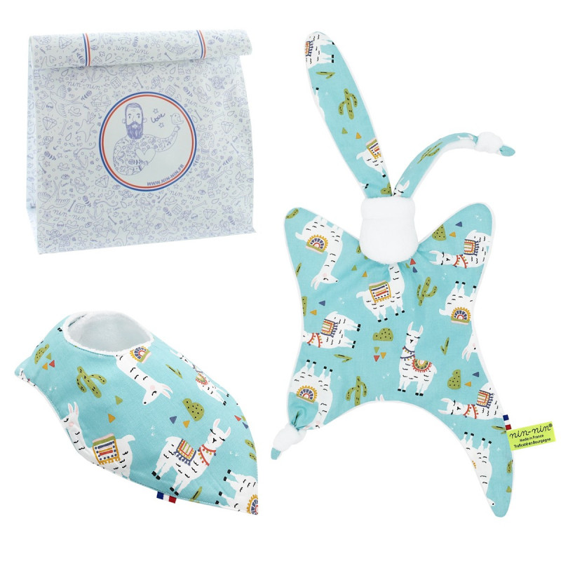 Birth gift baby comforter & bandana bib llama. Made in France