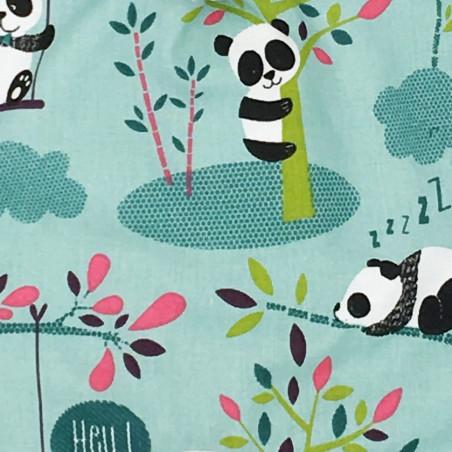 Tissu doudou Panda. Cadeau de naissance original personnalisable et made in France.