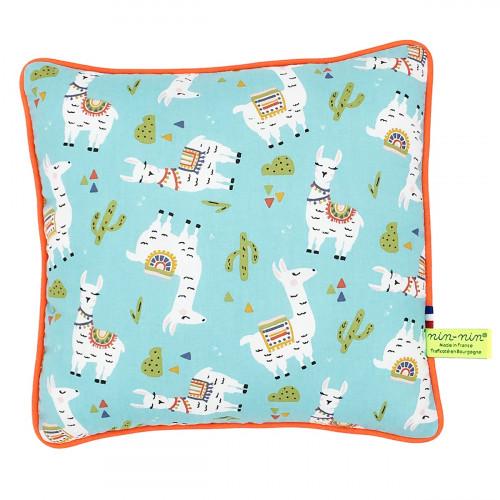 Coussin lama. Cadeau de naissance original personnalisable et made in France.