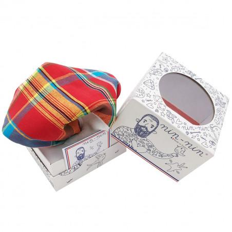 Boite doudou madras. Cadeau de naissance original personnalisable et made in France.