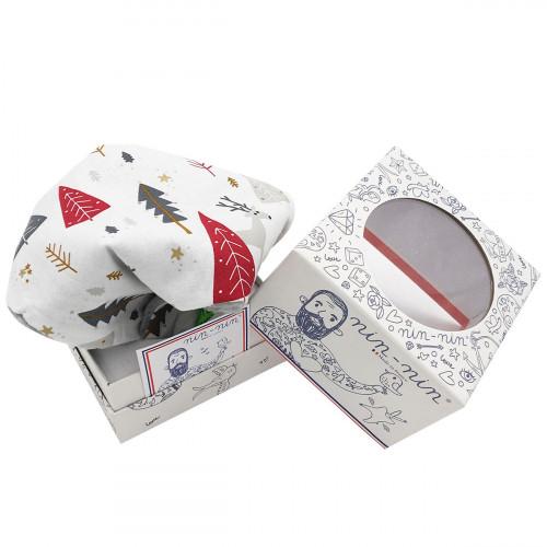 Cube doudou Le Renne. Cadeau de noël original personnalisable et made in France pour bébé.