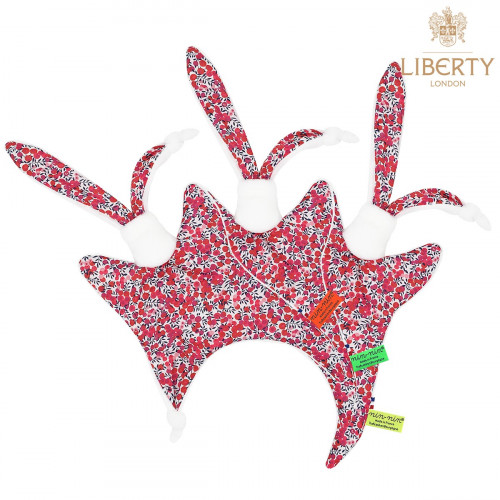 Doudou étiquettes Le Lily Liberty of London. Style Jacadi. Cadeau de naissance original et made in France.
