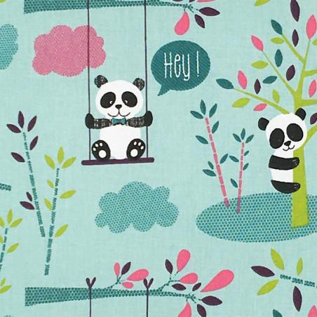 Tissu coussin panda. Cadeau de naissance original personnalisable et made in France.