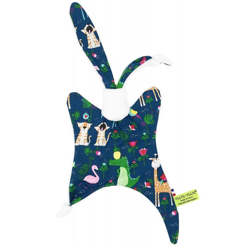 Doudou Savane avec de flamants roses, des crocodiles, des tigres, et des girafes. Cadeau personnalisable et made in France.