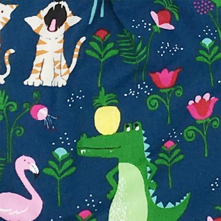 Tissu doudou Savane avec de flamants roses, des crocodiles, des tigres, et des girafes. Fabriqué en France. Nin-Nin